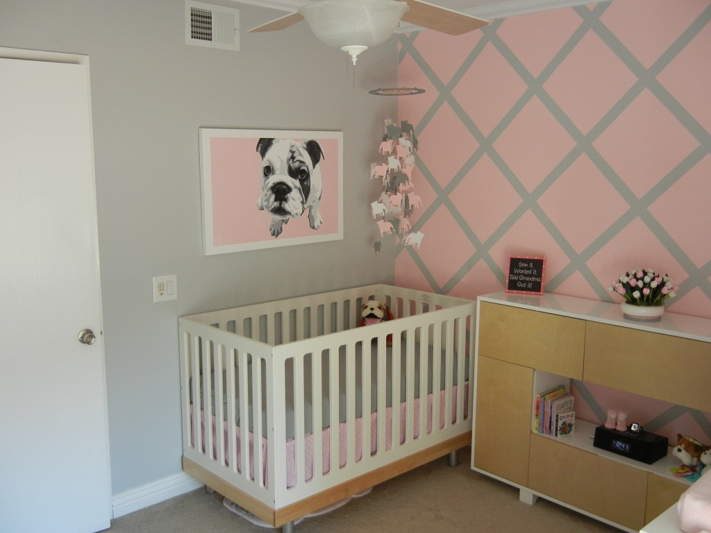Modern Girl's Nursery with Pink and Gray Accent Wall - Project Nursery