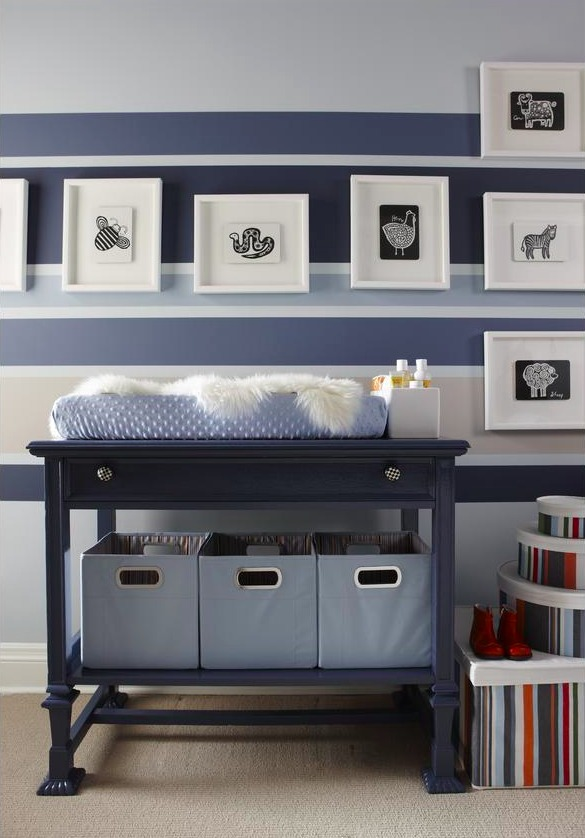 Blue Nursery with Striped Accent Wall