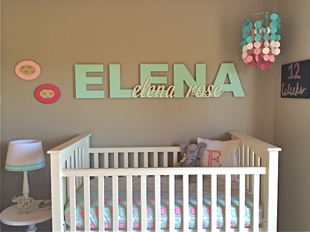 Personalized Aqua Letters Over the Crib