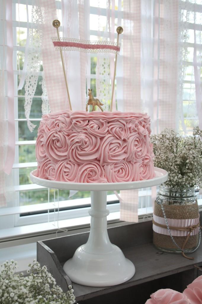 Pink Rosette Cowgirl Birthday Cake