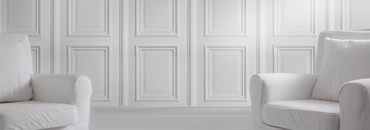 White Panelling Wallpaper from Mineheart