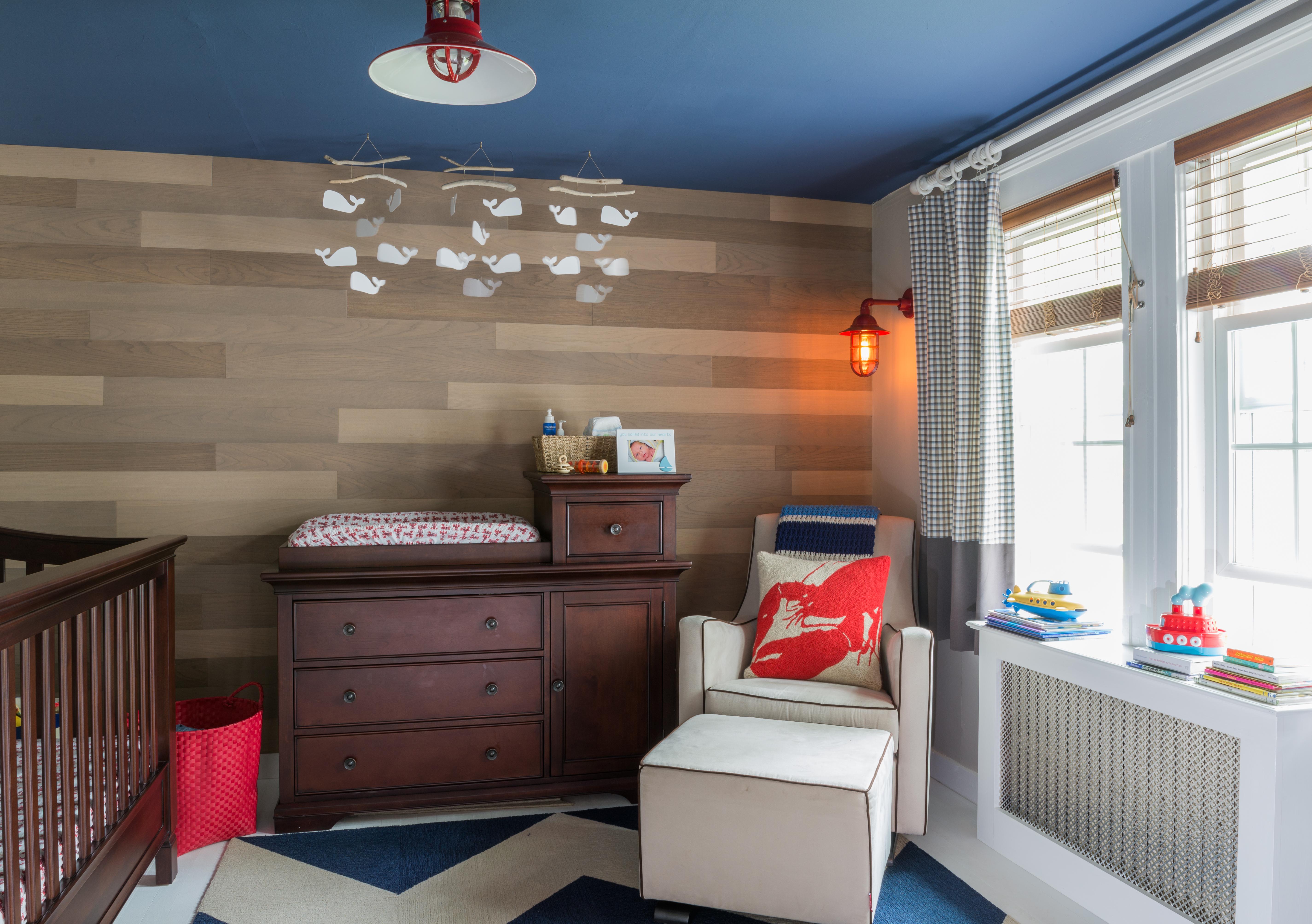 Nautical Nursery with Custom Wood Accent Wall