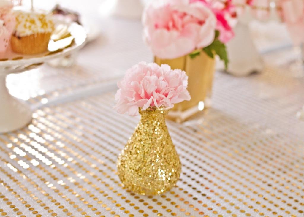 Gold Glitter Vase