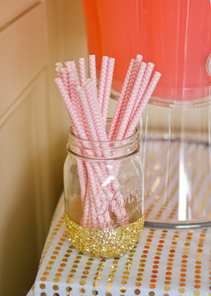 Gold Glittered Mason Glass for Straws