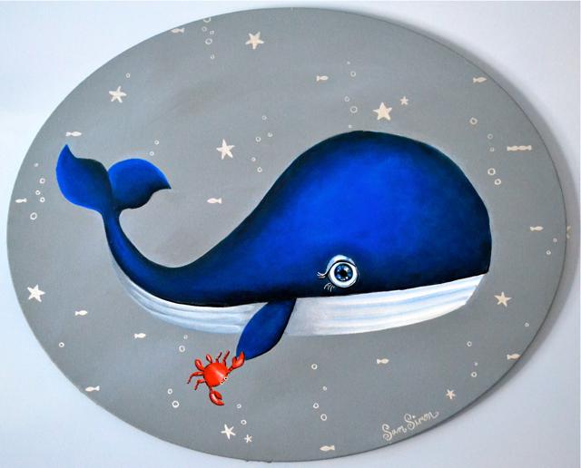 Custom Whale Art for Nursery