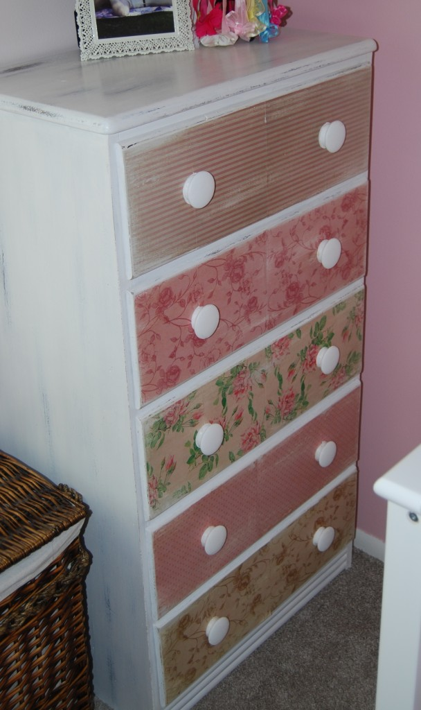 Refinished Shabby Chic Dresser Using Scrapbook Paper on the Drawer Fronts