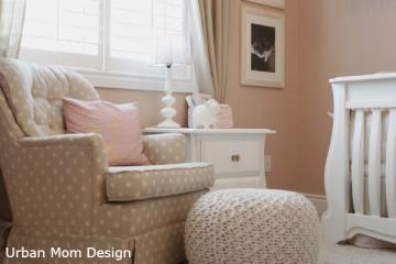 Polka Dot Rocking Chair with White Knit Pouf