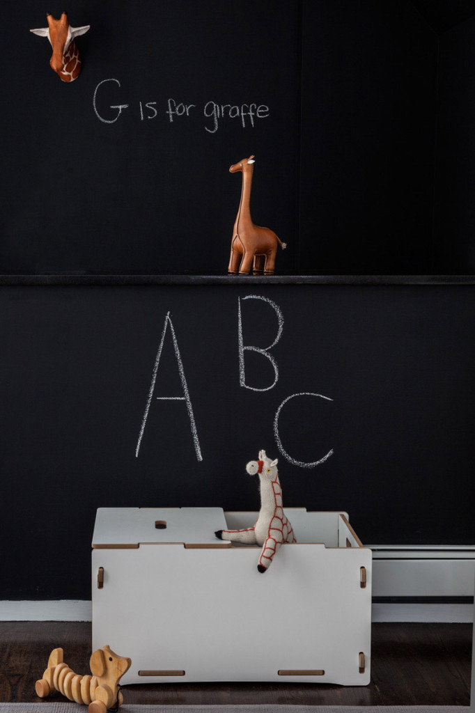 Chalkboard Wall in this Modern Animal Nursery
