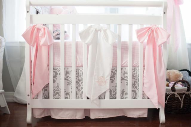 Elegant Gray and Pink Crib Bedding - Project Nursery