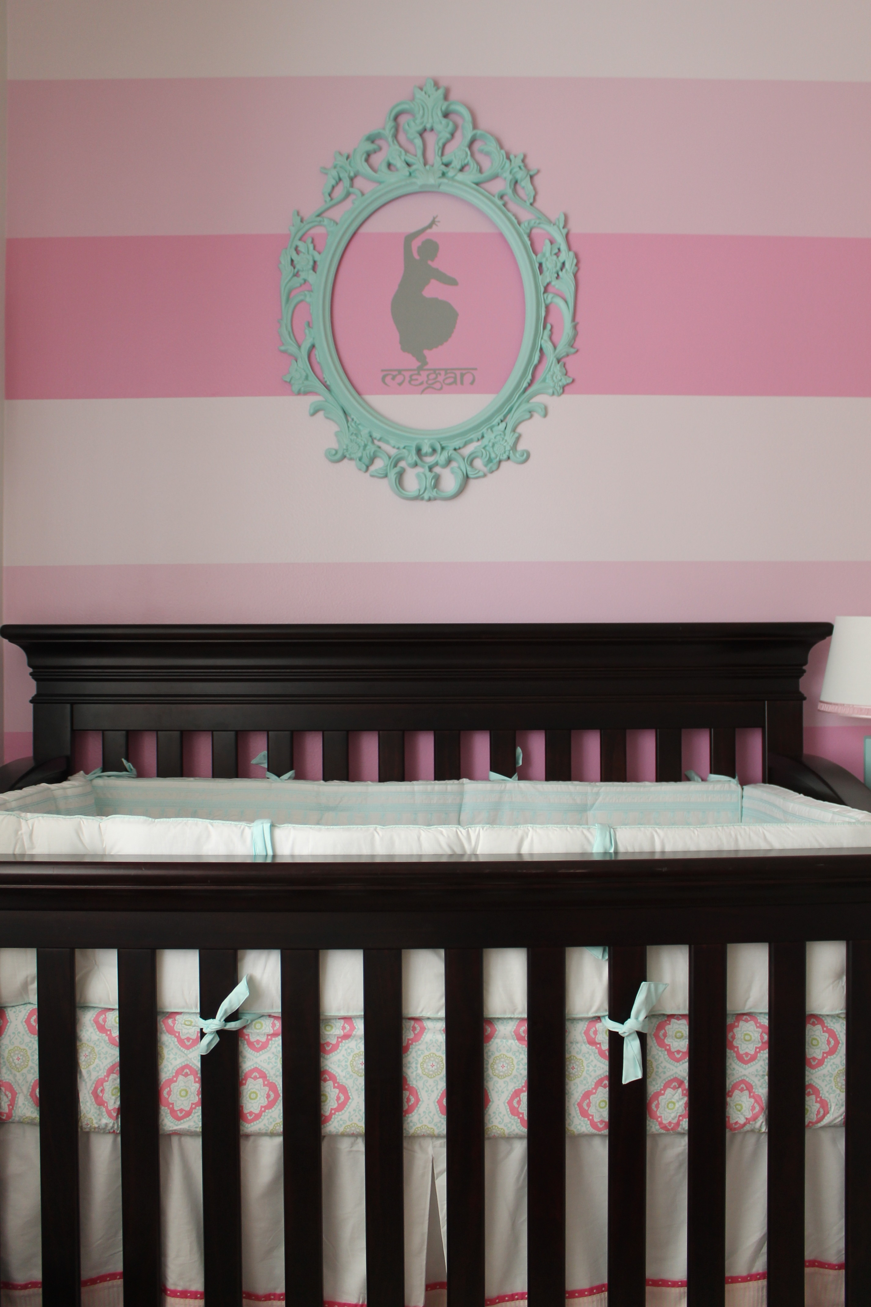 Pink Ombre Striped Accent Wall
