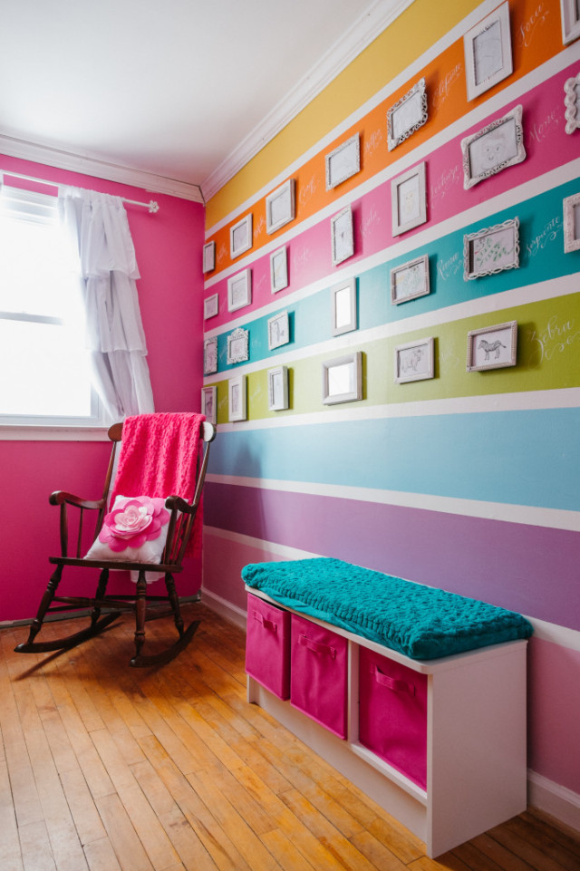 Colorful Nursery with Striped Accent Wall - Project Nursery