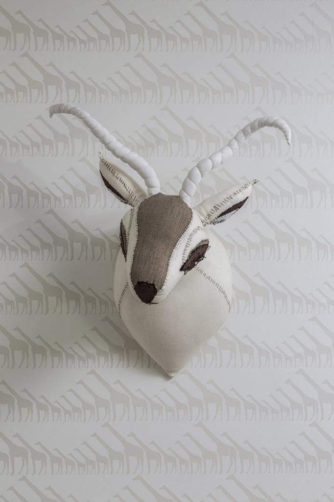 Giraffe Wallpaper with Faux Antler Head