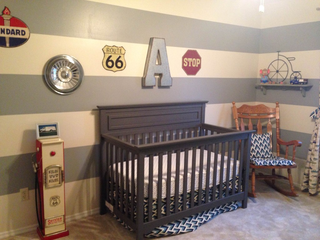 4 Vintage Car Themed Nursery With Striped Accent Wall