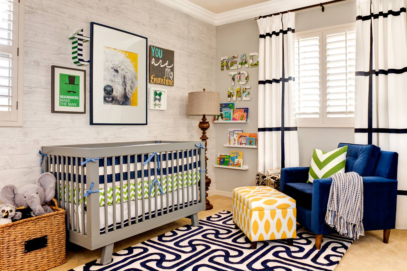 Great Modern Nursery with Gallery Wall Above Crib