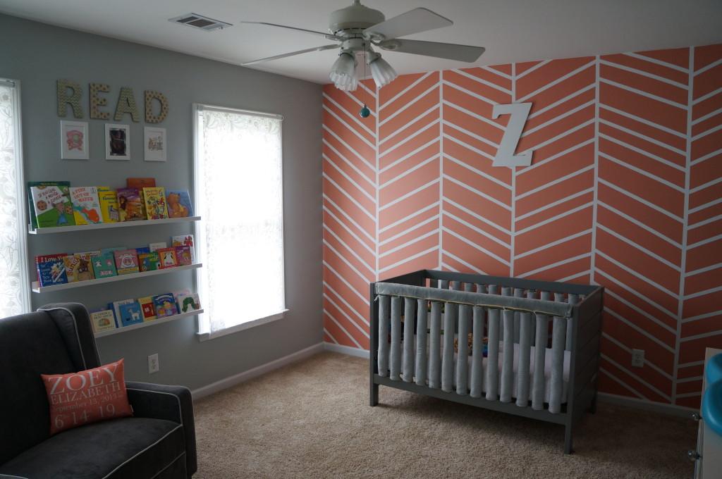 Coral And Teal Herringbone Nursery Project Nursery
