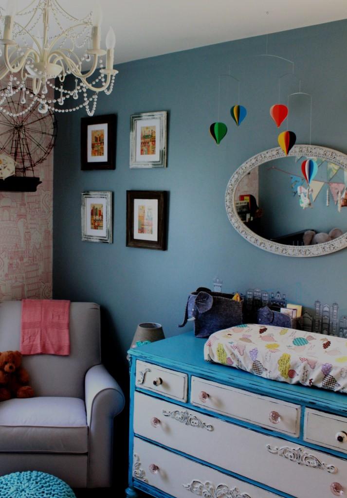Restored Blue and White Dresser
