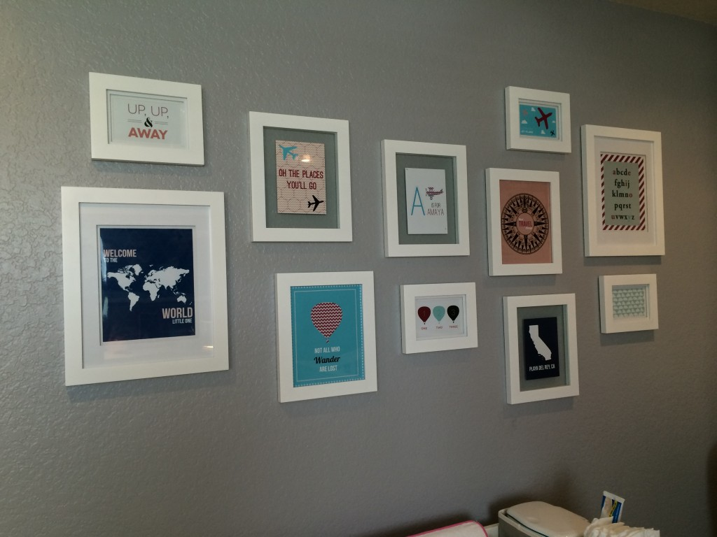 Travel Themed Gallery Wall in this Travel Themed Nursery