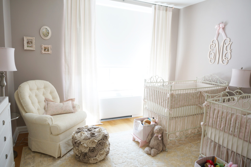 Pink Ivory And Grey Twin Girls Nursery Project