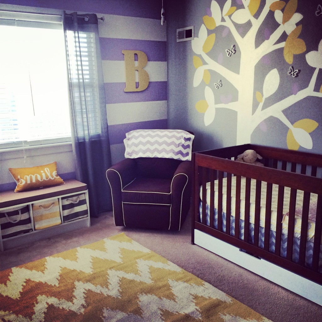 Blake Aubrey's Purple, Grey And Yellow Nursery