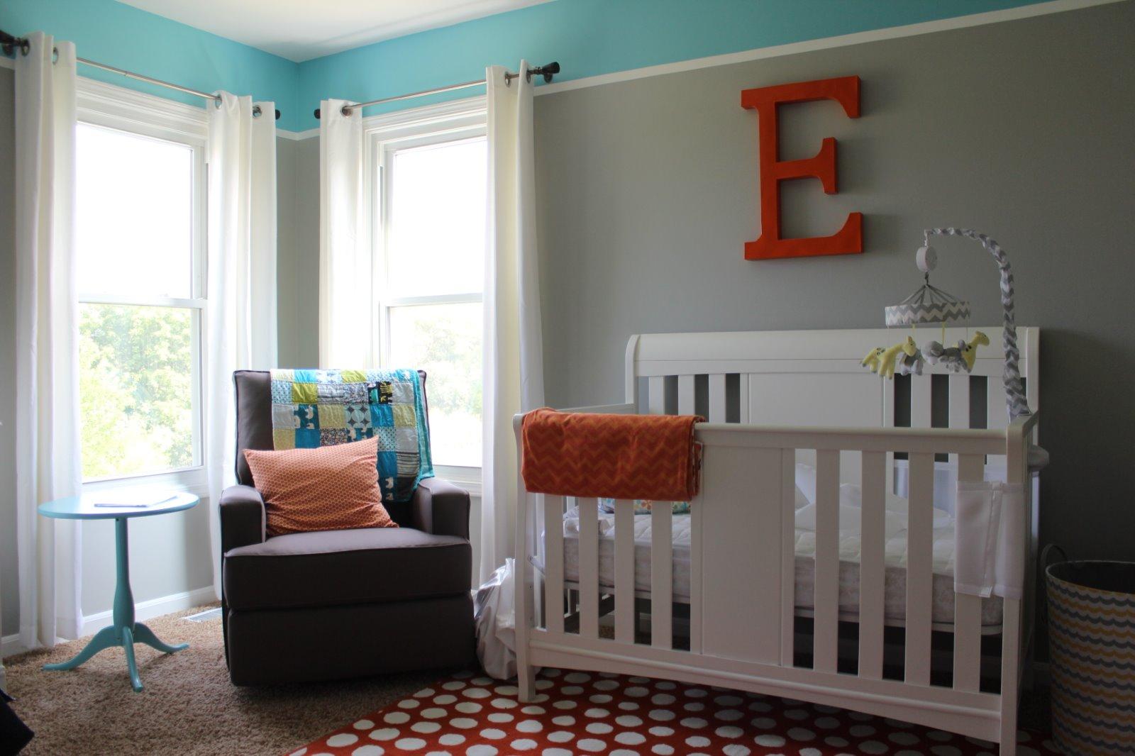 Gray, Orange and Aqua DIY Nursery