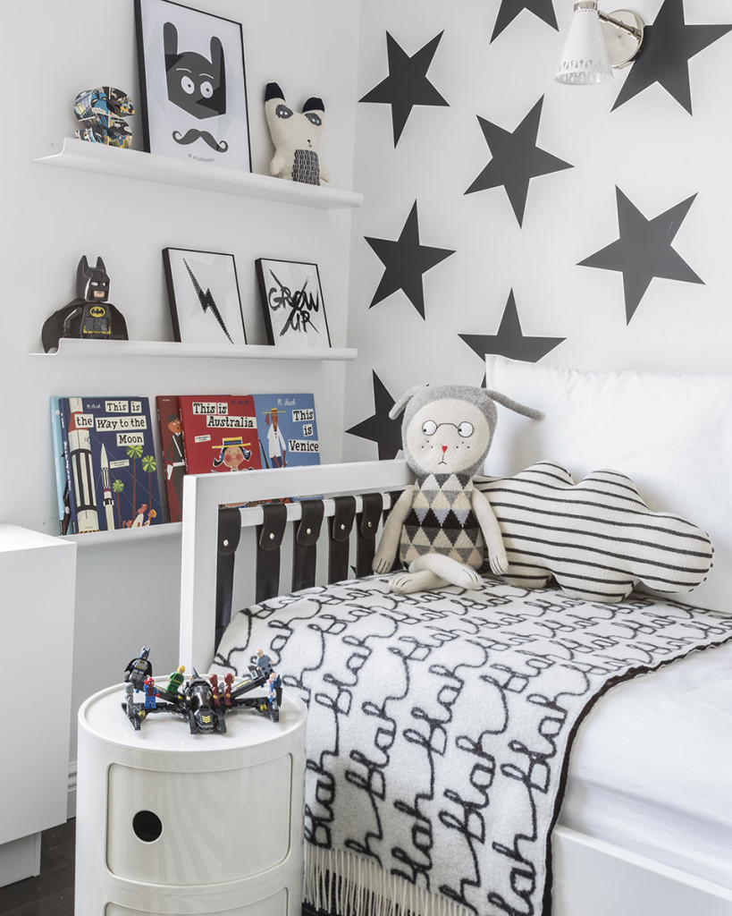 Gray Star Wallpaper in Black and White Boy's Room - Project Junior
