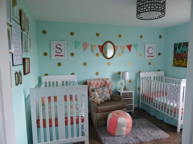 Mint and Coral Vintage Twins Nursery - Project Nursery