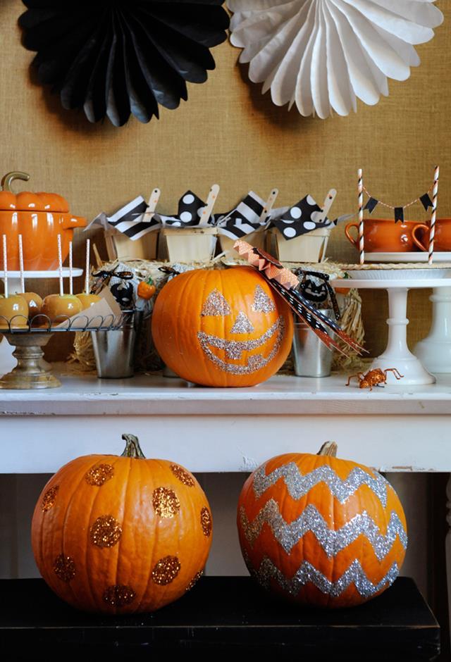 DIY Glittering Pumpkins
