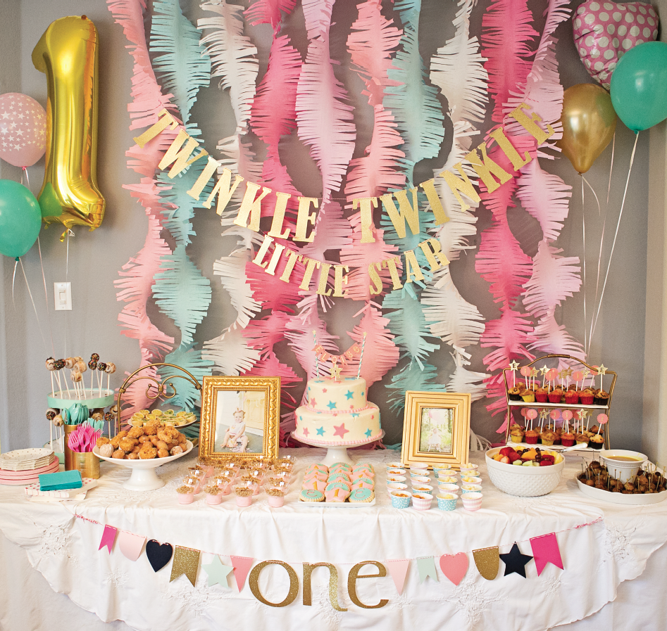 1717 pink and gold twinkle little star 1st birthday party