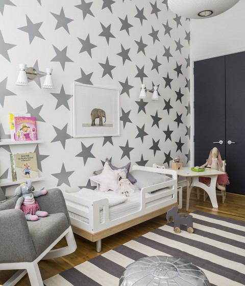 Shared Kids Room with Silver Star Wallpaper - Project Junior
