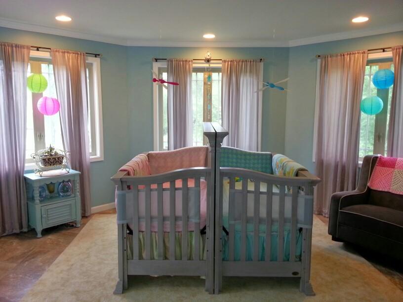 Boy and girl twin nature themed nursery project nursery - Boy and girl room ...
