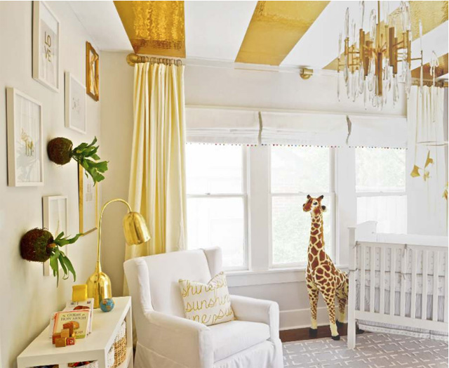 Neutral Nursery with Gold Striped Ceiling