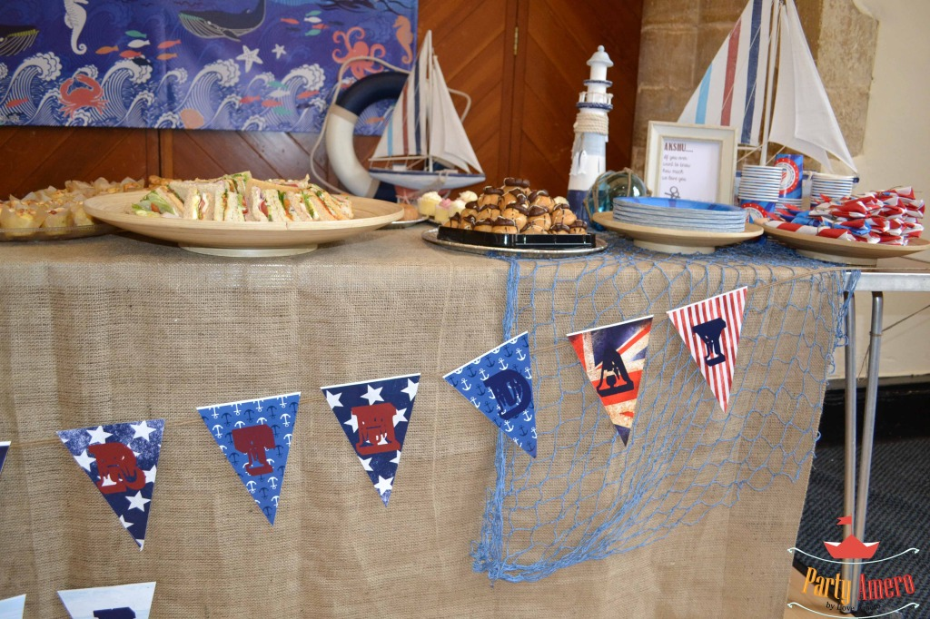 Nautical Themed Food Table for this Nautical Birthday Party