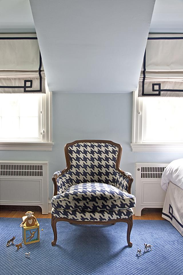 Vintage Reupholstered Chair in Nursery