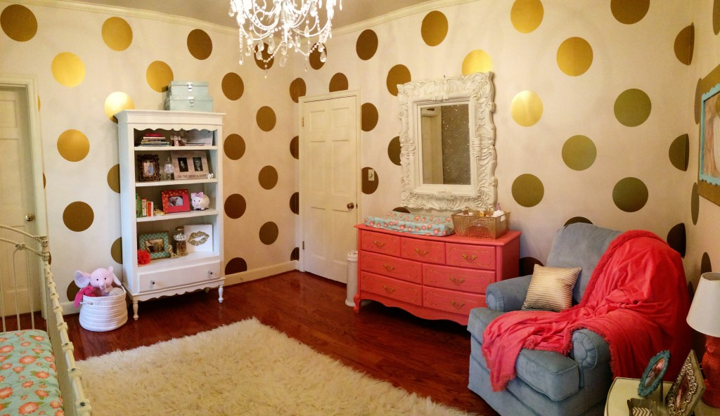 Beau ... Gold Polka Dot Walls In This Coral And Gold Nursery
