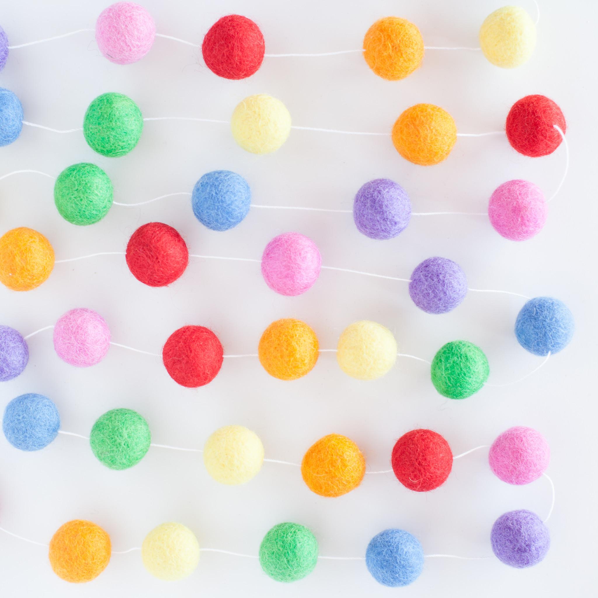 Rainbow Felt Ball Garland