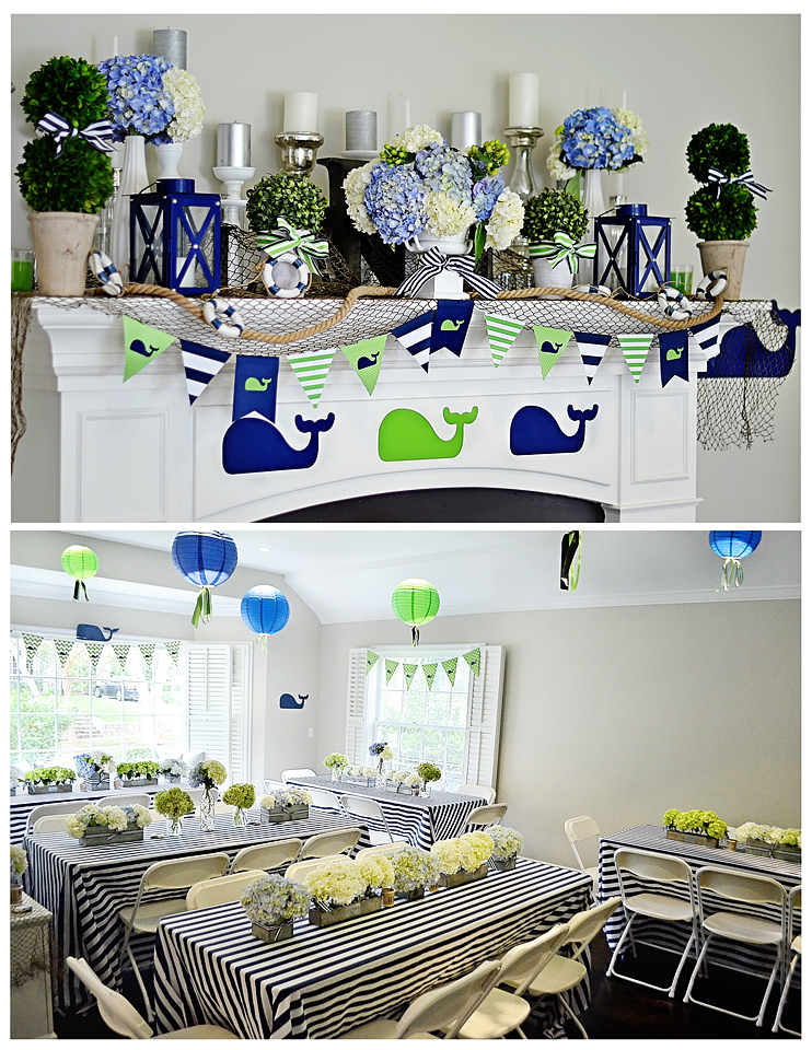 Preppy Whale 1st Birthday Party Door Decor
