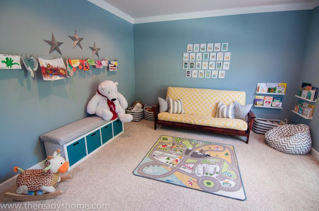 Living room turned playroom project nursery for Playroom floor ideas