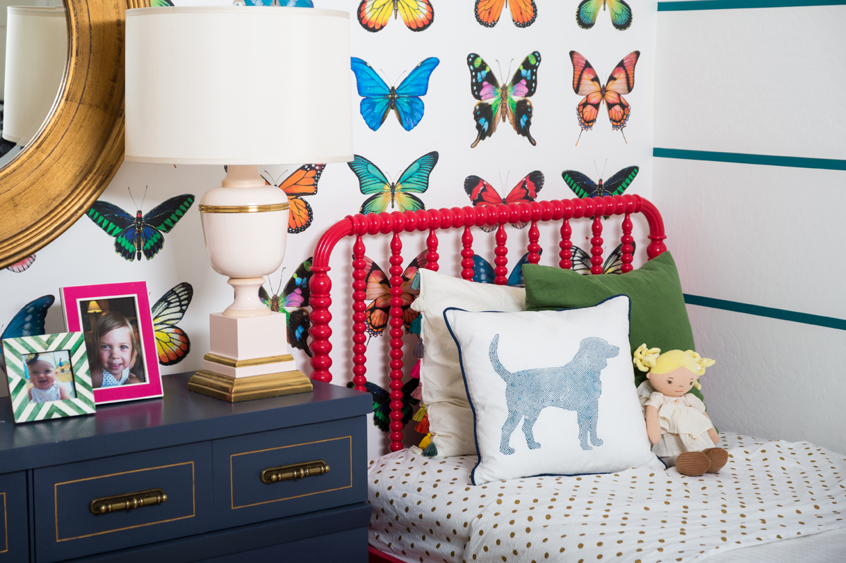 Red Jenny Lind Twin Bed and Navy Vintage Chest