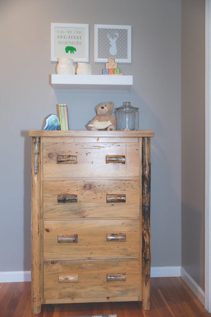 Handmade Wooden Dresser in this Woodland Nursery