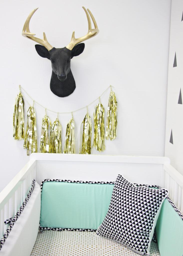 Black and Gold Deer Head in this Modern Mint Nursery