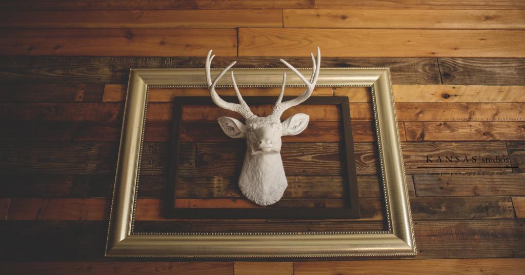Faux Deer Head Framed on Wooden Pallet Wall