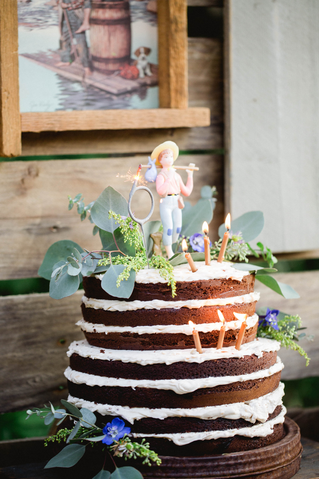 Rustic Birthday Cake with Greenery