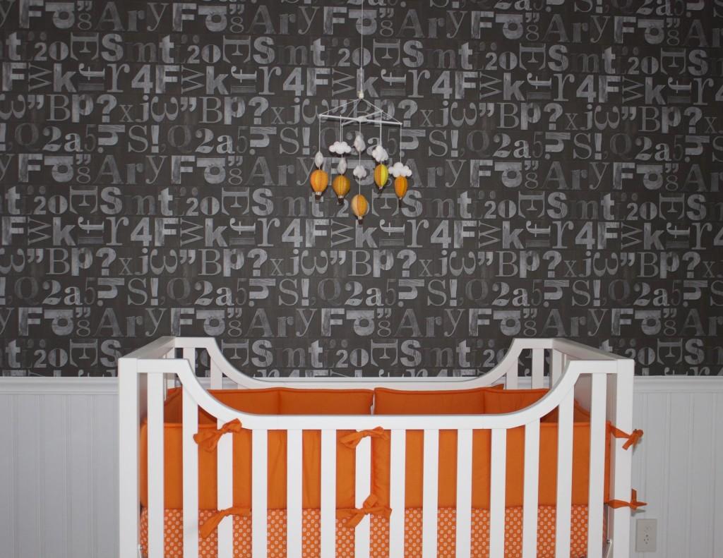 Gray Alphanumeric Wallpaper and Orange Crib Bedding - Project Nursery