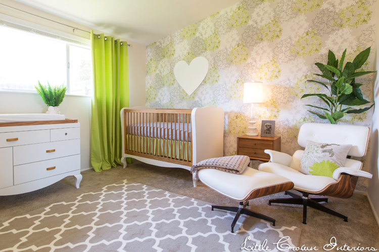 Lime Green, Gray and White Nursery by Little Crown Interiors