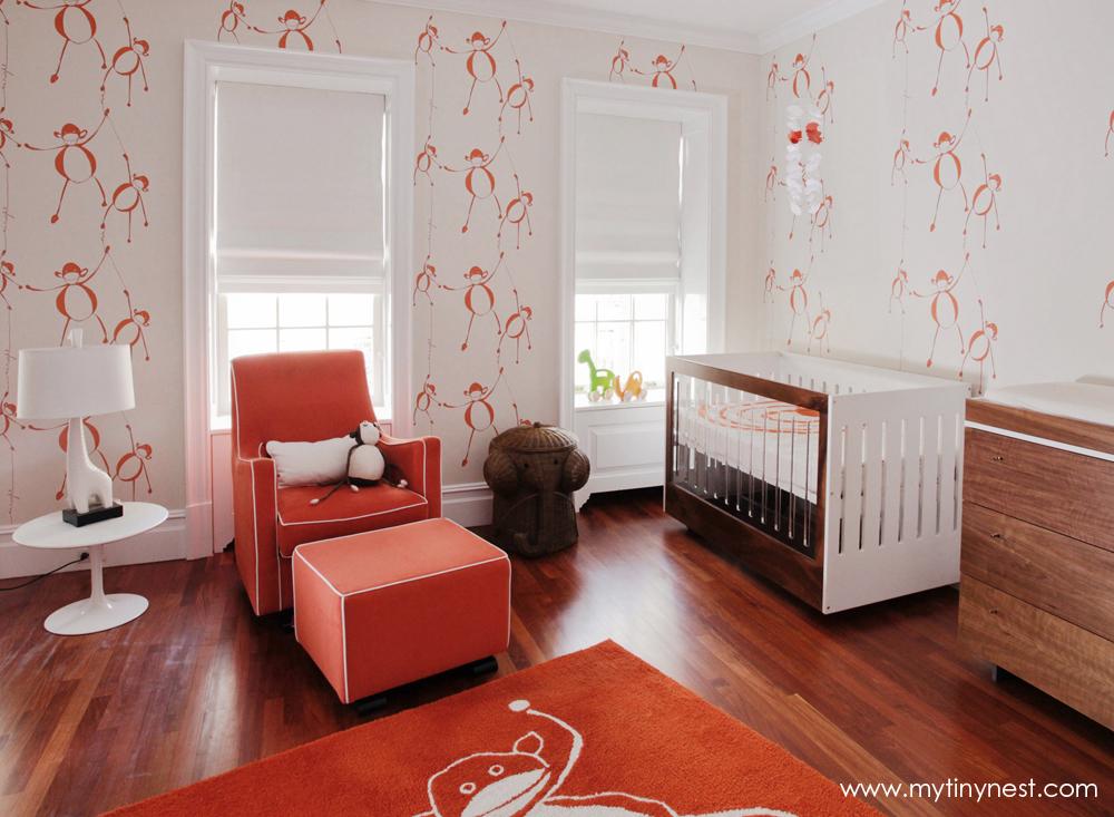 Modern Monkey-Themed Orange Nursery - Project Nursery
