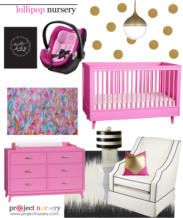 Pink and Gold Nursery Design Board - Project Nursery