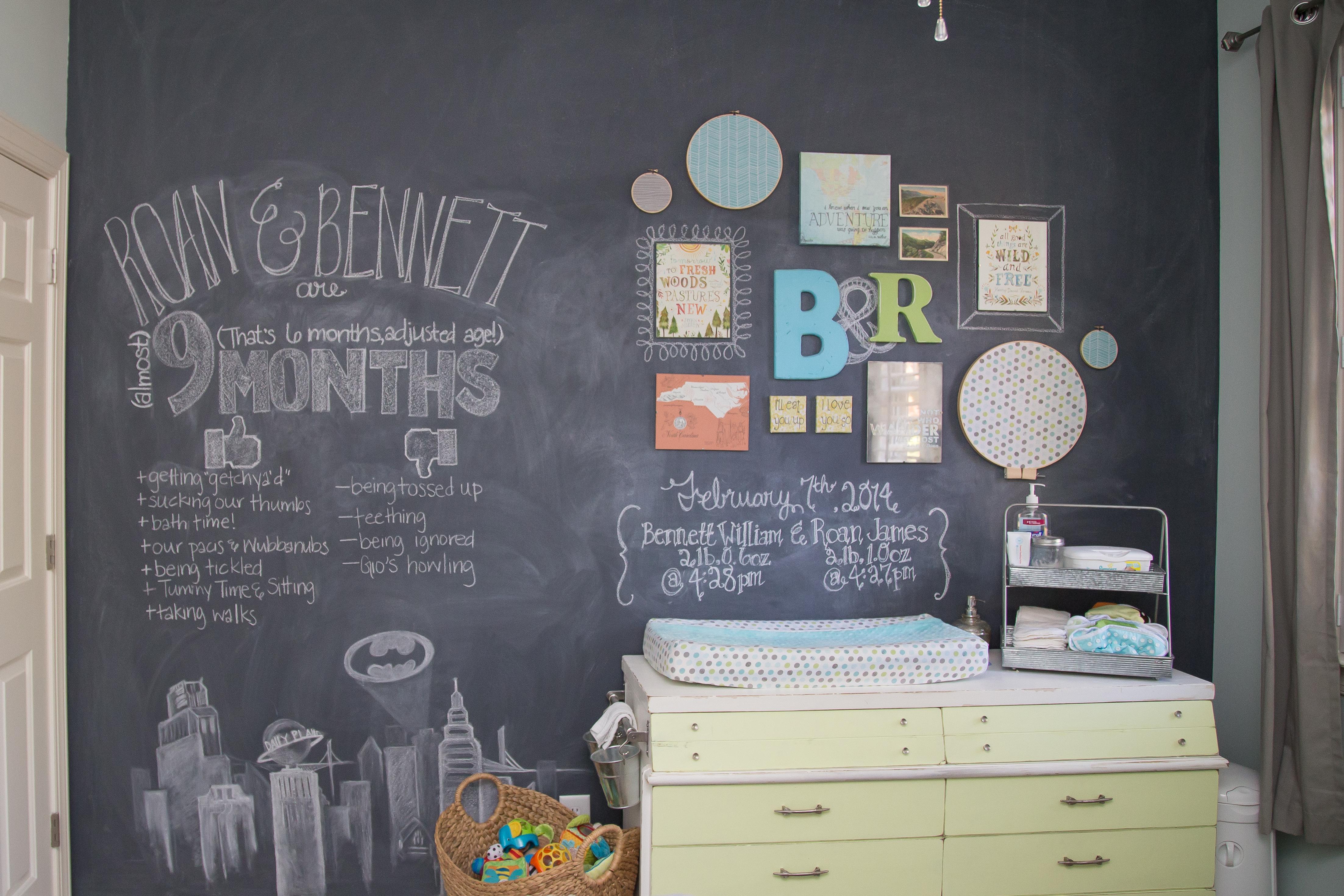 Custom-Tinted Chalkboard Wall in this Twin Boys Nursery