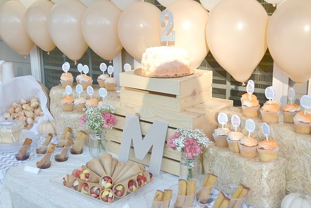 Peachy Pumpkin Birthday Party Food Table