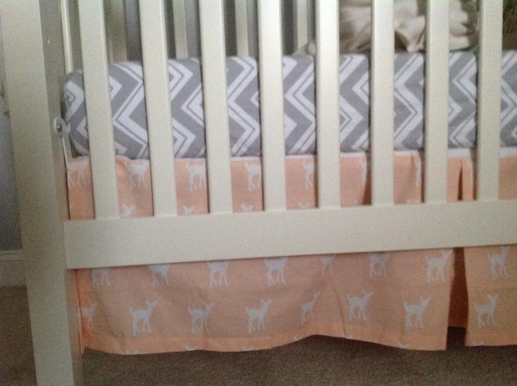 Peach Fawns Crib Skirt in this Woodland Nursery
