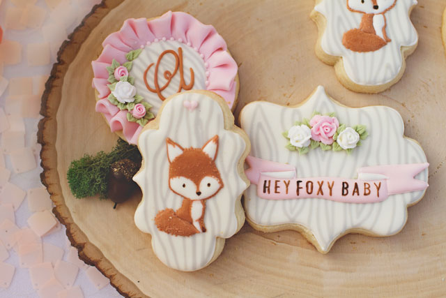 Fox Baby Shower Sugar Cookies